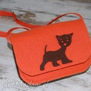 torebeczka filcowa, torba, torebeczka, kotek, brązowy, pomarańczowa, wyjątkowy