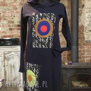 Granatowy zawrót głowy-bluza/sukienka maxi, bluza, sukienka, dzianinowa, luzna