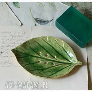szmaragdowa mydelniczka listek, ceramika, mydelniczka, liść