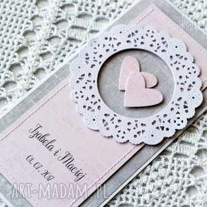 Wyjątkowa kartka ślubna z rozetą, personalizacja, kartka, gratulacje, elegancka