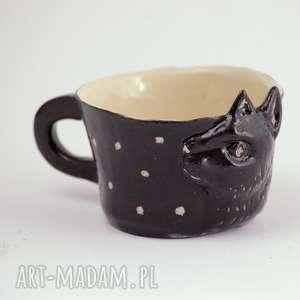 ręcznie wykonane ceramika ceramiczny kubek z kotem - czarny kot
