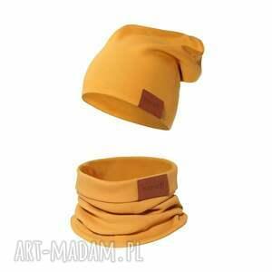 ręcznie robione kominy komplet czapka i komin musztardowy
