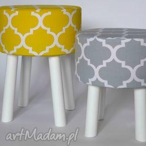 Fjerne M na białych nogach (żółta koniczyna), dekoracja, dom, meble, taboret, puf