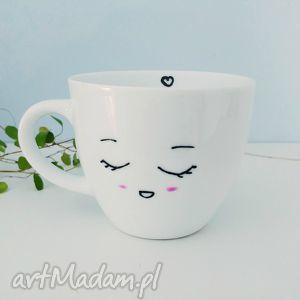 filiżanka smile, filiżanka, kubek, biała, malowana dom, unikalny prezent
