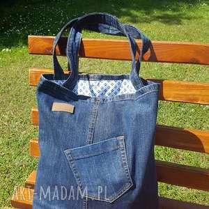 handmade na ramię prosta ciemna torba jeansowa z kieszonką