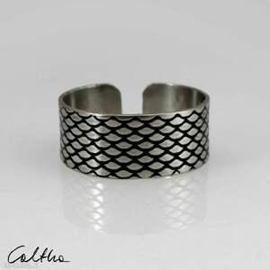 ręcznie robione obrączki rybia łuska - srebrna obrączka 130620 -11