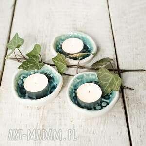 podstawki pod tea light 3 szt świeczniki z bielą, świecznik