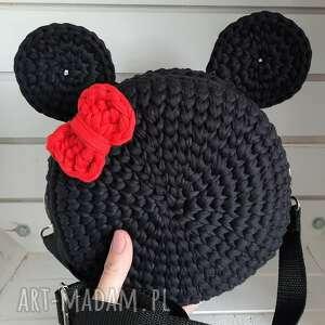 szydełkowa damska torebka myszka czarna duża, torebka, szydełkowa