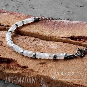 kamień księżycowy i srebro-nowoczesny naszyjnik, kamień-księżycowy, biały, nowoczesny