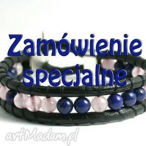 zamówienie specjalne lapis lazuli i różowy kwarc, kamienie, lapis, lazuli, kwarc