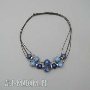 naszyjnik królewski niebieski - naszyjnik, kulki, metal, ceramika, prezent, oryginalny