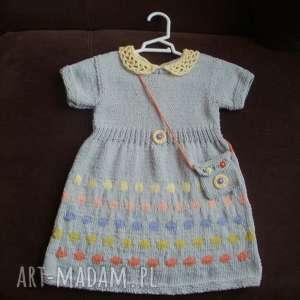 sukienka kolorowe groszki, sukienka, włóczka, bawełna, torebeczka, rękodzieło
