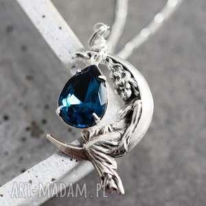 925 srebrny naszyjnik księżycowa wróżka ii, wróżka, magia, kamien, srebro