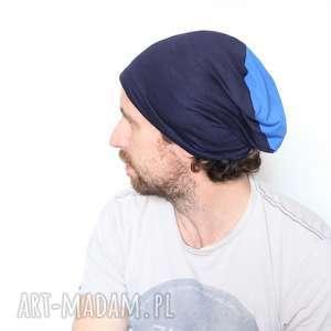handmade czapki czapka dresowa niebieska dzianinowa