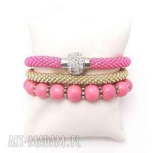 bransoletki pink inspiration set - zestaw bransoletek, bransoletki, set