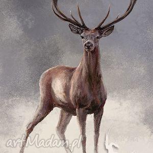 obrazy obraz jeleń 2 - skandynawski, płótno, obraz, malowany, jeleń, skandynawski