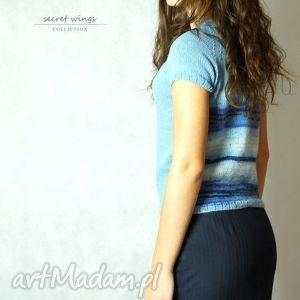 święta prezent, bluzki niebieska jedwabna no 1, bluzka, jedwab, moher, dziergana