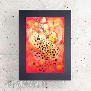 abstrakcja czewrono złota, abstrakcyjny rysunek na ścianę, nowoczesna