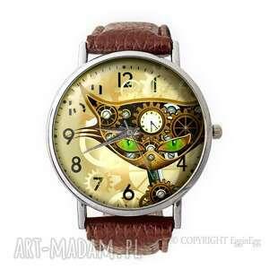 Prezent Steampunk owy Kot - Skórzany zegarek z dużą tarczą, steampunk, kot,