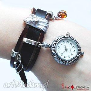 zegarki zegarek bursztyny wiśniowe na skórze, zegarek, skórzany