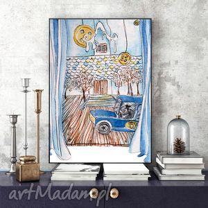 opowieŚĆ ilustracja - obrazek, ilustracja, samochód, akwarela, a4
