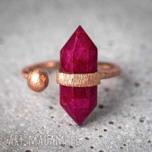 925 18k różowo pozł pierścionek rubin madamlili