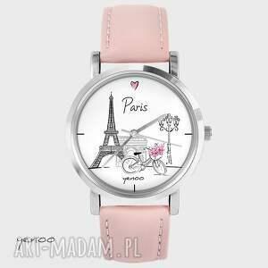 zegarek, bransoletka - paryż pudrowy róż, bransoletka, skórzany