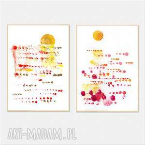 ręcznie wykonane prace a4 x 2 zachód słońca creo, grafika, zachód, słońca, akryl