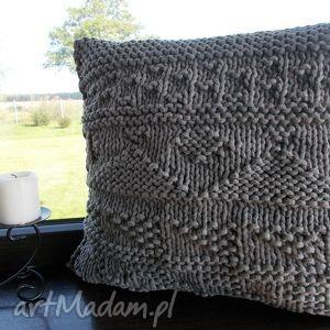 Ręcznie wykonana duża poduszka szara, poduszka, sznurek, bawełna, wzory, szary