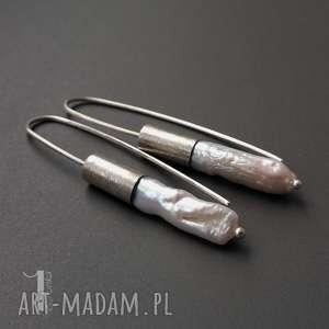 Barocco II srebrne kolczyki z perłami biwa, srebro, oksydowane, długie,