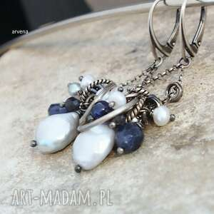 szafiry,perły - kolczyki, srebro oksydowane, szafiry, perły, długie kolczyki