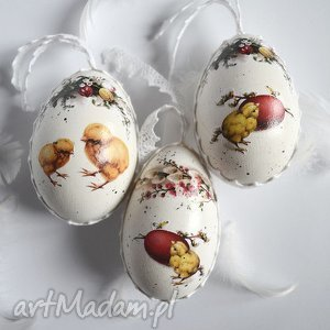 dekoracja wielkanocna-jajka pisanki komplet 3szt, wielkanoc, dekoracje, koronka