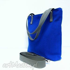 Shopper bag, kobaltowa, niebieska, torba, modna, klasyczna, szyta