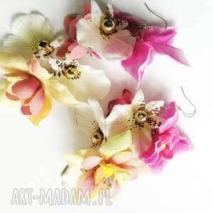 Kolczyki kwiatowe wiszące lekkie, box x1, polecam ruda klara
