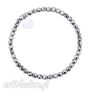 srebrna bransoletka z fasetowanego hematytu, fasetowany, trendy, modowa
