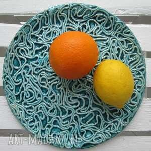 turkusowa patera ceramiczna, turkusowy, talerz, dekoracyjny