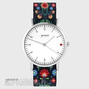 zegarek - simple elegance, biały folk czarny, nato, zegarek, pasek, folkowy