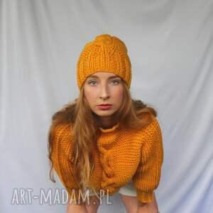 komplet sweterek i czapka z warkoczem, komplet, sweter czapka, zimowy