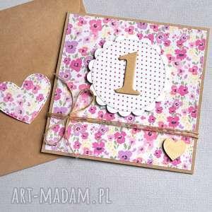 hand-made kartki na roczek:: łączka:: dla dziewczynki