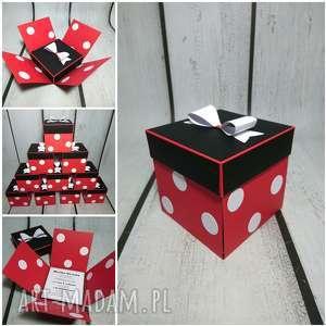 scrapbooking kartki pudełko minnie mouse, myszka, miki, kropki, urodziny, mouse