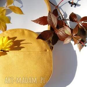 Prezent DOTTI - okrągła torebka na ramię żółta, okrągła, listonoszka, pojemna,