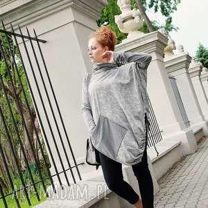 Bluza damska tunika luźna asymetryczna print, tunika, poncho, bluza,