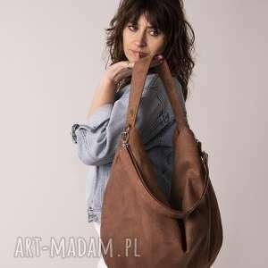 brązowa torba worek z zamszu ekologicznego, torebka worek, workowata