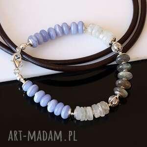 Chalcedon, chalcedon, kamień, księżycowy, labradoryt, srebro, bransoletka