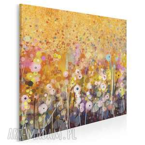 obraz na płótnie - ogród kwiaty abstrakcja w kwadracie 80x80 cm 62102
