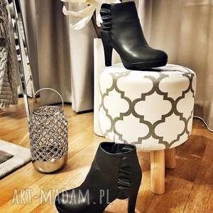 pufa koniczyna maroco biało - czarna 36 cm, puf, taboret, hocker, vintage, stołek