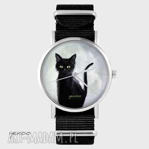 handmade zegarki zegarek, bransoletka - czarny kot, szary czarny, nato