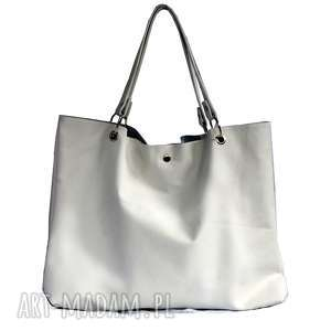 Torbiszcze skórzane białe, torebka, skórzana, duża, praktyczna, pojemna, uniwersalna