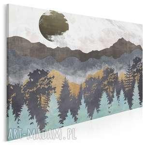obraz na płótnie - góry lasy abstrakcja 120x80 cm 85101, góry, lasy, słońce