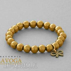 hematite with pendant in gold - złote bransoletki, zawieszka, kokardka